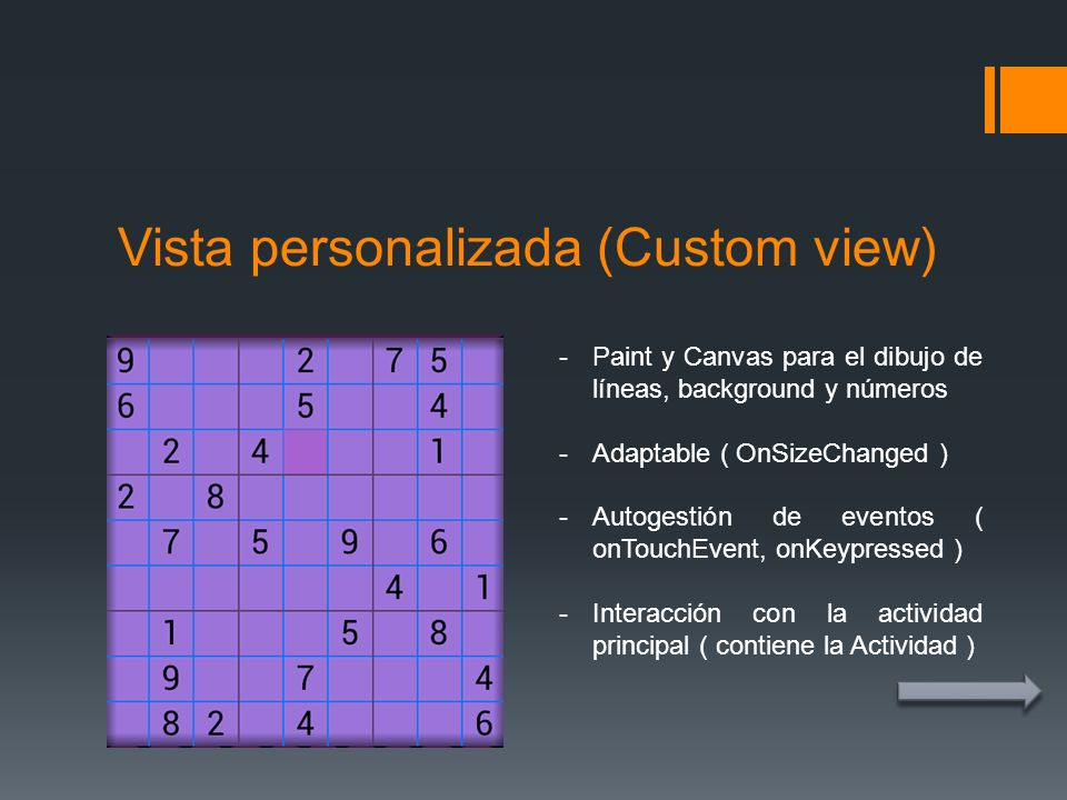 Vista personalizada (Custom view)