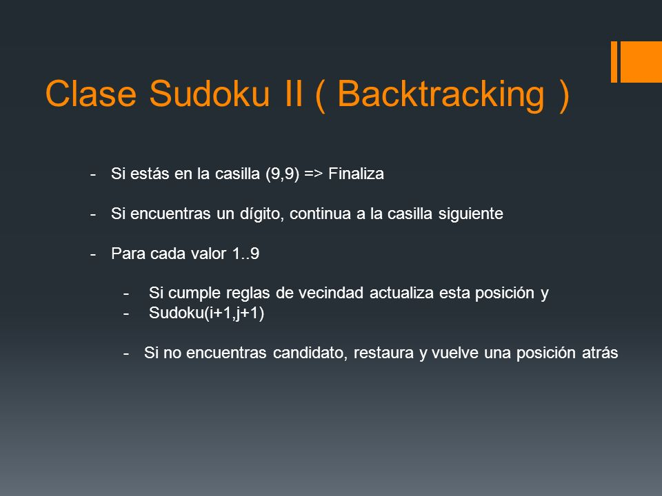Clase Sudoku II ( Backtracking )