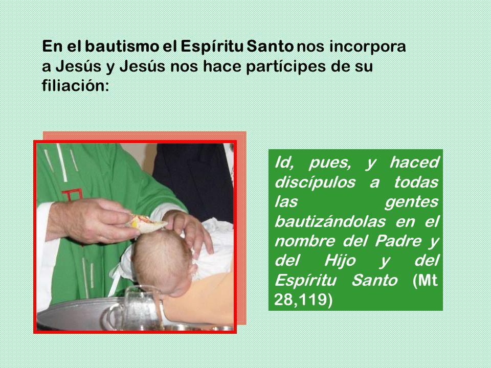 En el bautismo el Espíritu Santo nos incorpora a Jesús y Jesús nos hace partícipes de su filiación: