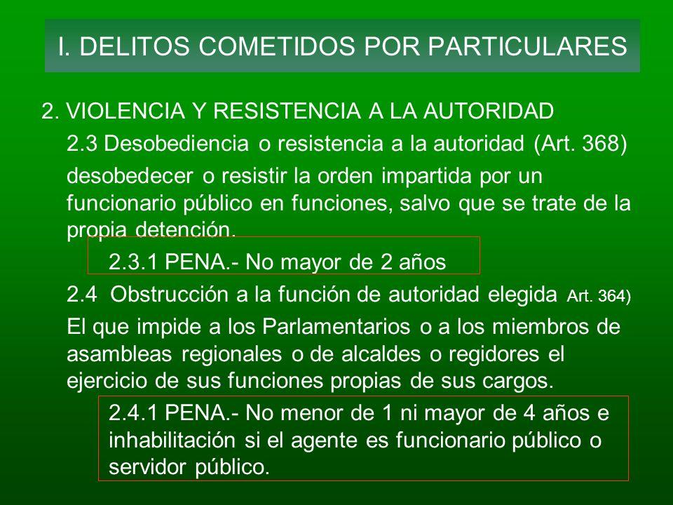 I. DELITOS COMETIDOS POR PARTICULARES
