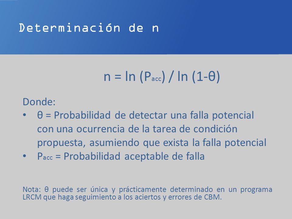n = ln (Pacc) / ln (1-θ) Determinación de n Donde: