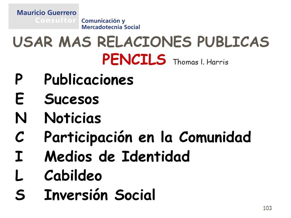 PENCILS Thomas l. Harris P Publicaciones E Sucesos N Noticias
