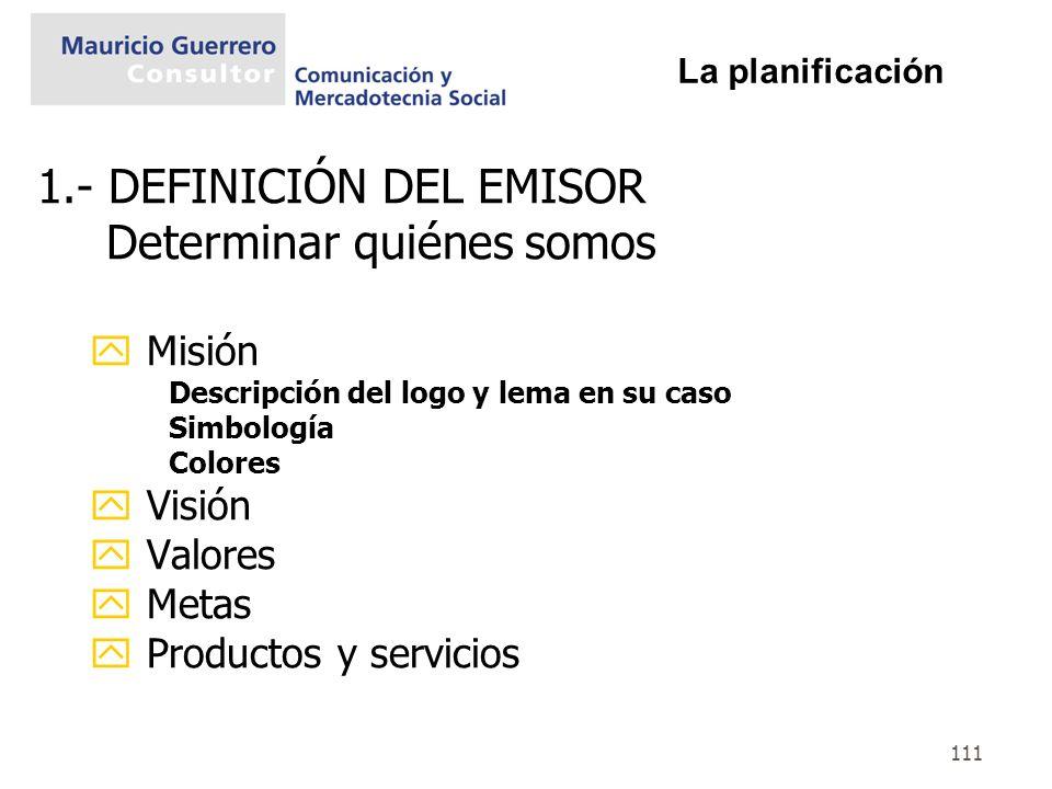 1.- DEFINICIÓN DEL EMISOR Determinar quiénes somos
