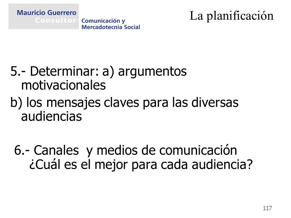 La planificación5.- Determinar: a) argumentos motivacionales. b) los mensajes claves para las diversas audiencias.