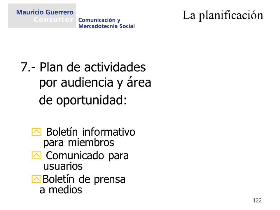 7.- Plan de actividades por audiencia y área de oportunidad: