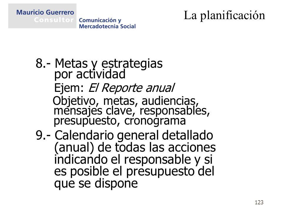 8.- Metas y estrategias por actividad Ejem: El Reporte anual