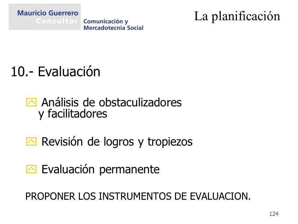 La planificación 10.- Evaluación