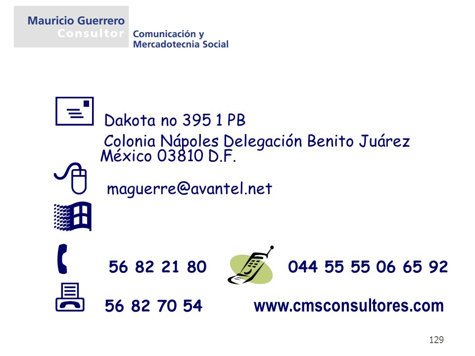  Dakota no 395 1 PB Colonia Nápoles Delegación Benito Juárez México 03810 D.F.  maguerre@avantel.net.