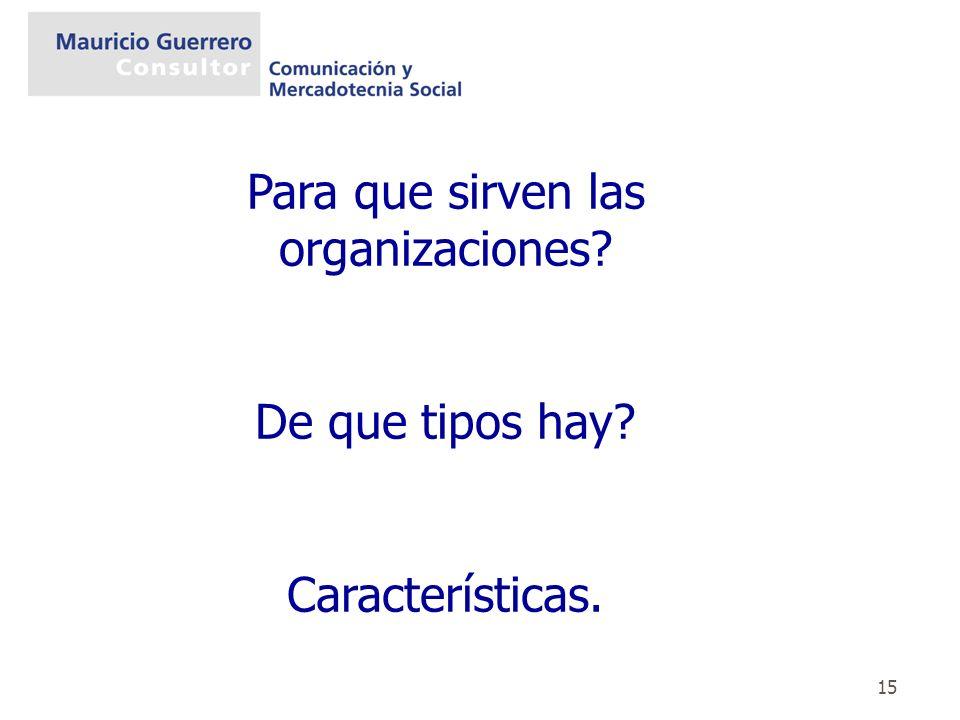 Para que sirven las organizaciones