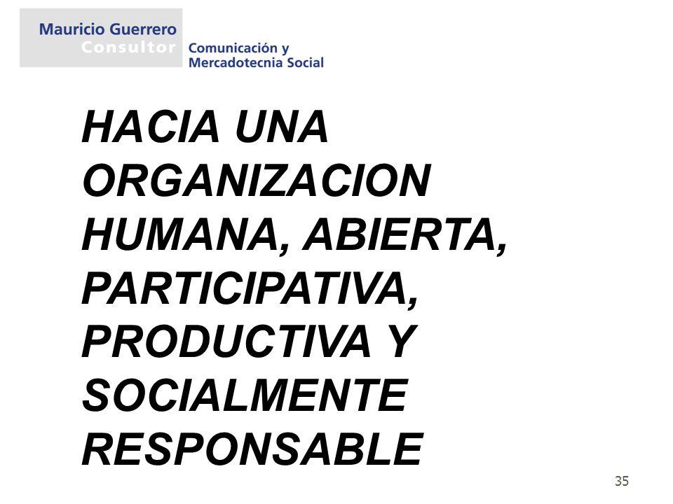 HACIA UNA ORGANIZACION HUMANA, ABIERTA, PARTICIPATIVA, PRODUCTIVA Y SOCIALMENTE RESPONSABLE
