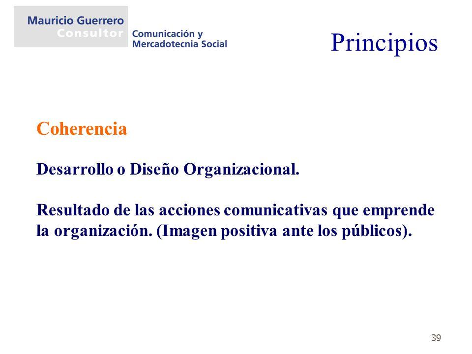 Principios Coherencia Desarrollo o Diseño Organizacional.