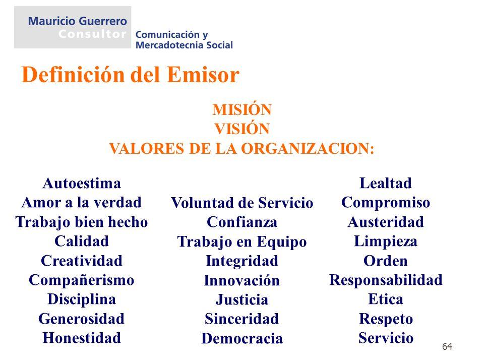 VALORES DE LA ORGANIZACION: