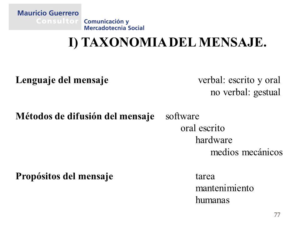 I) TAXONOMIA DEL MENSAJE.