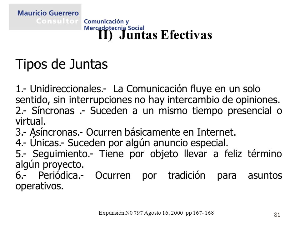 II) Juntas Efectivas Tipos de Juntas .