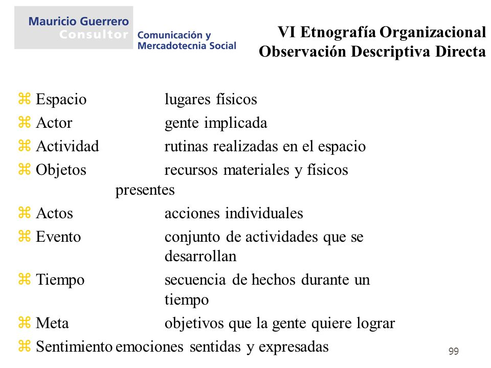 VI Etnografía Organizacional Observación Descriptiva Directa