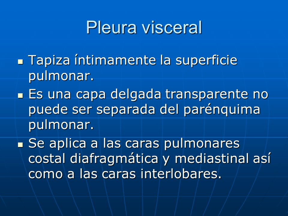 Pleura visceral Tapiza íntimamente la superficie pulmonar.