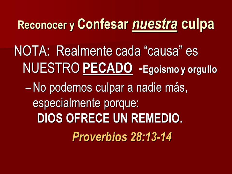 Reconocer y Confesar nuestra culpa