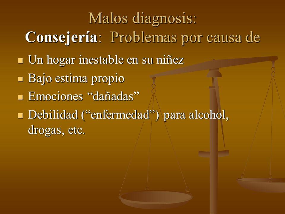 Malos diagnosis: Consejería: Problemas por causa de