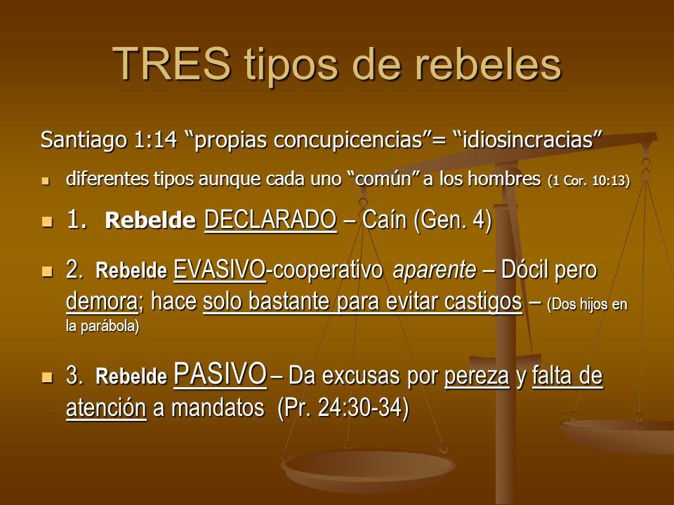 TRES tipos de rebeles 1. Rebelde DECLARADO – Caín (Gen. 4)