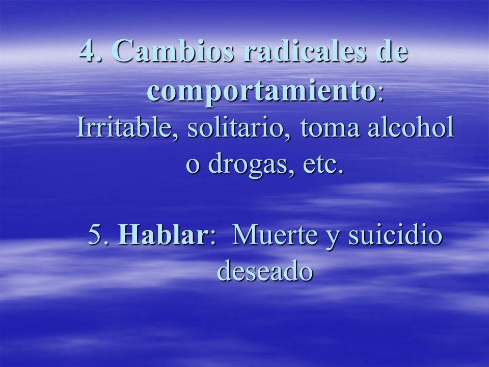 4. Cambios radicales de comportamiento: Irritable, solitario, toma alcohol o drogas, etc.