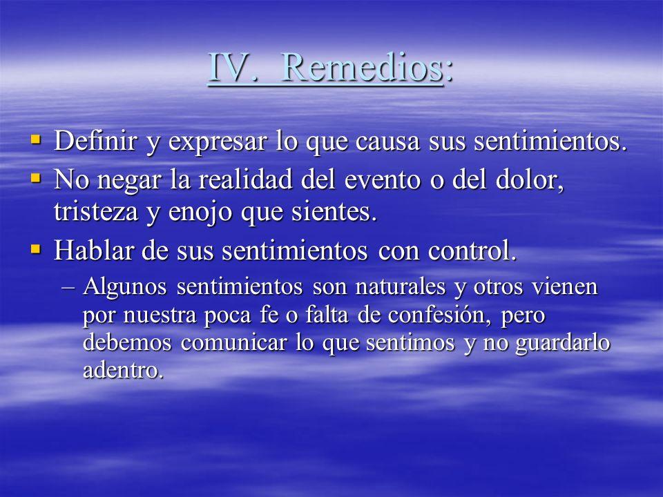 IV. Remedios: Definir y expresar lo que causa sus sentimientos.