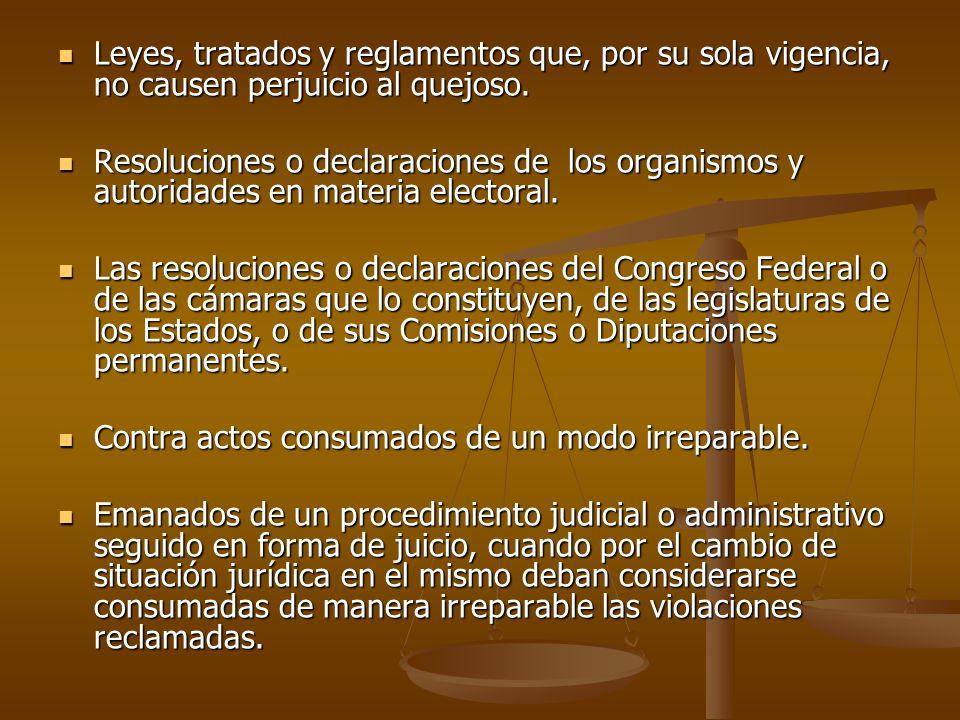 Leyes, tratados y reglamentos que, por su sola vigencia, no causen perjuicio al quejoso.