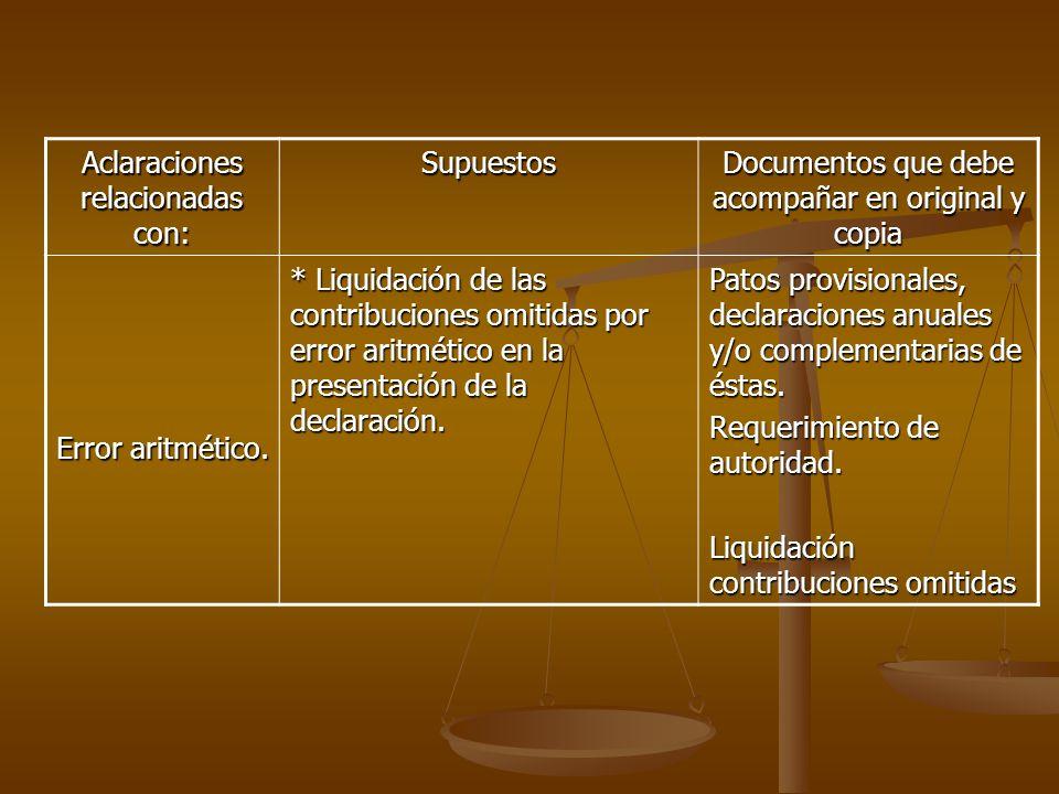 Aclaraciones relacionadas con: Supuestos