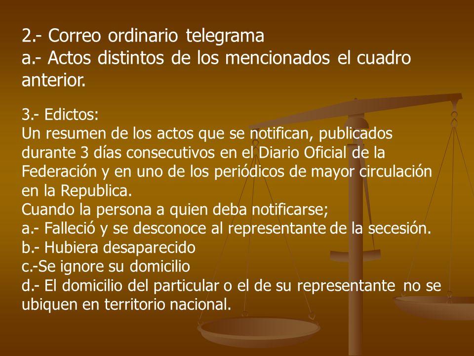 2.- Correo ordinario telegrama