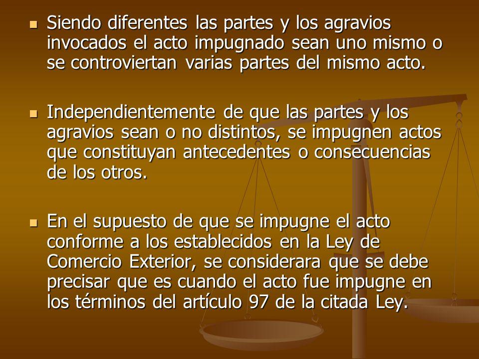 Siendo diferentes las partes y los agravios invocados el acto impugnado sean uno mismo o se controviertan varias partes del mismo acto.