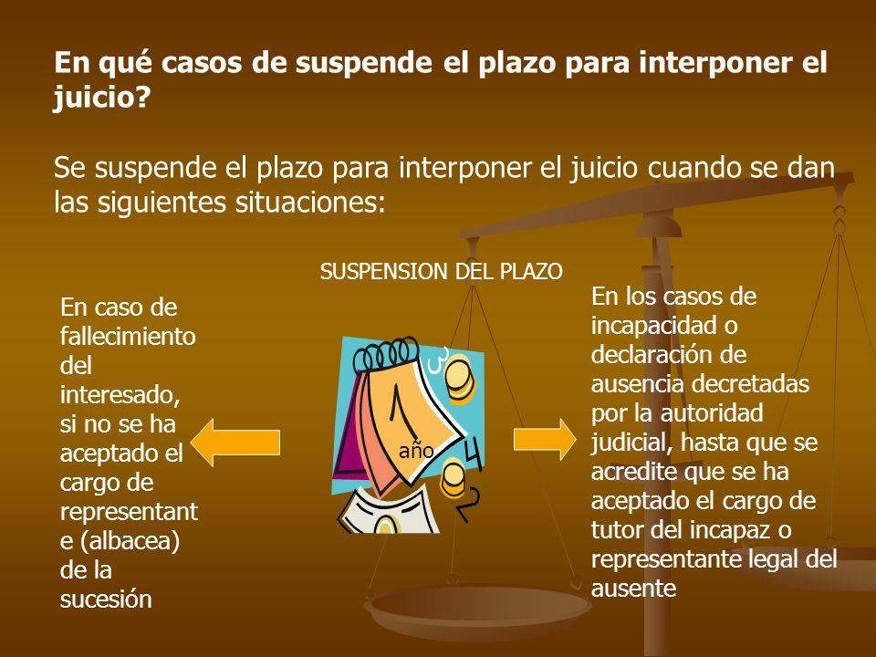 En qué casos de suspende el plazo para interponer el juicio