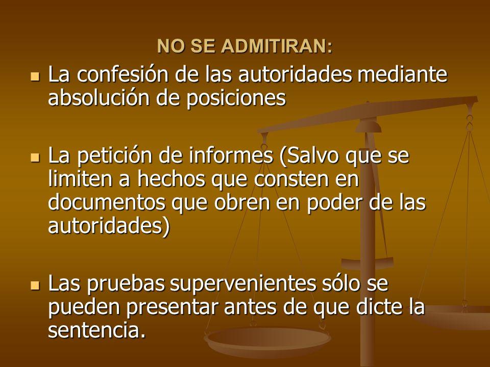 La confesión de las autoridades mediante absolución de posiciones