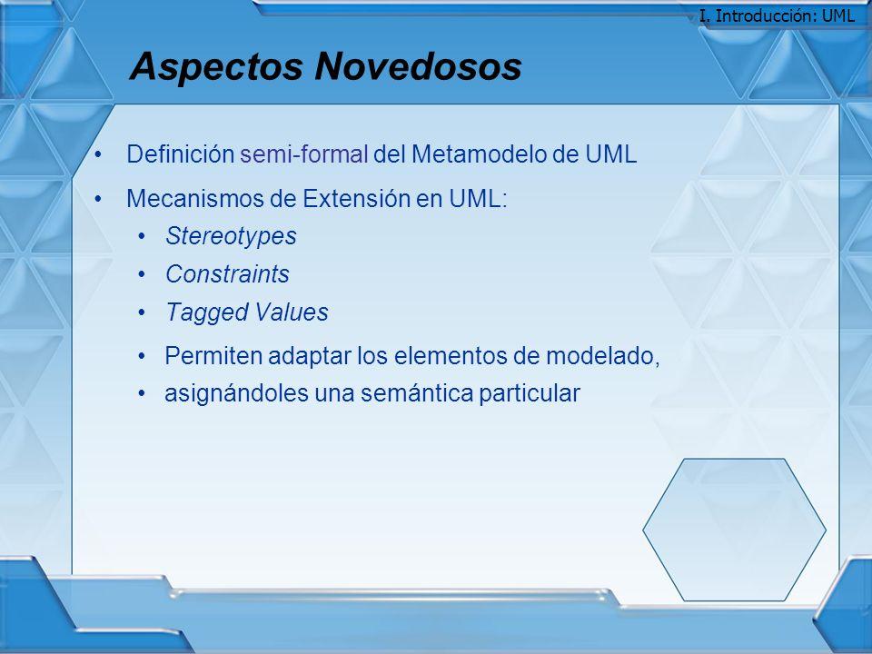Aspectos Novedosos Definición semi-formal del Metamodelo de UML