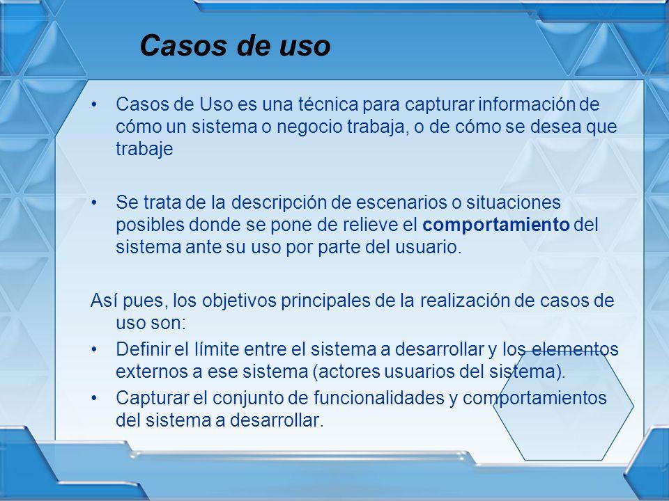 Casos de uso Casos de Uso es una técnica para capturar información de cómo un sistema o negocio trabaja, o de cómo se desea que trabaje.