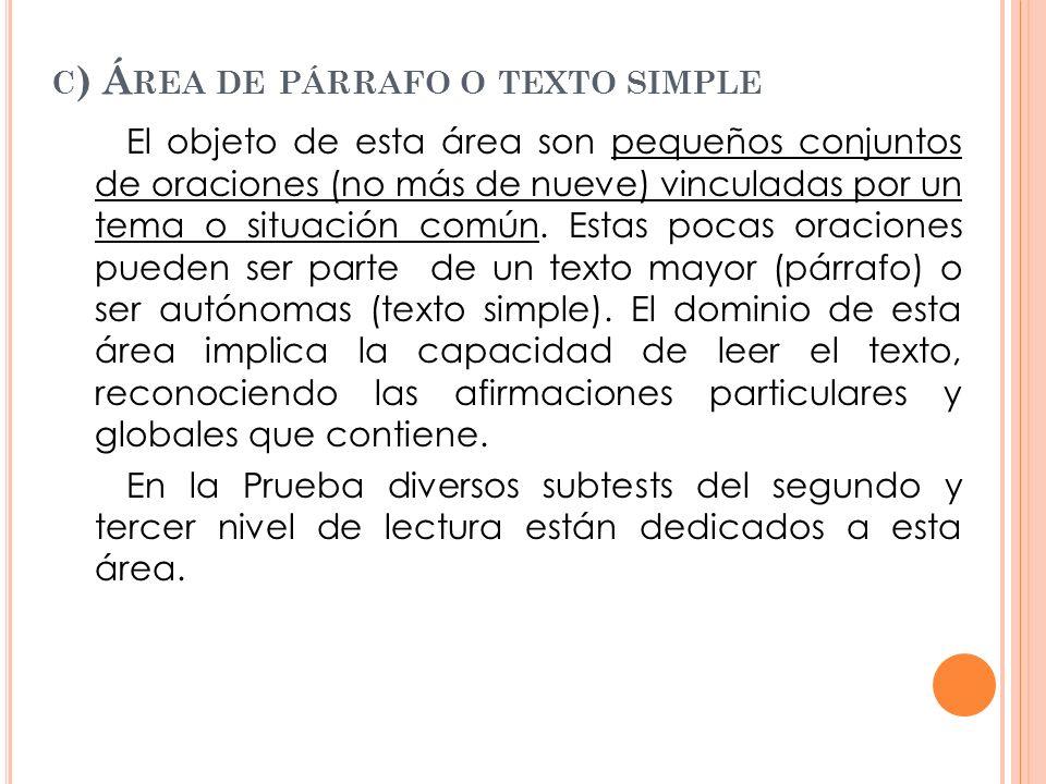 c) Área de párrafo o texto simple