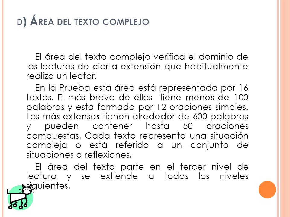 d) Área del texto complejo