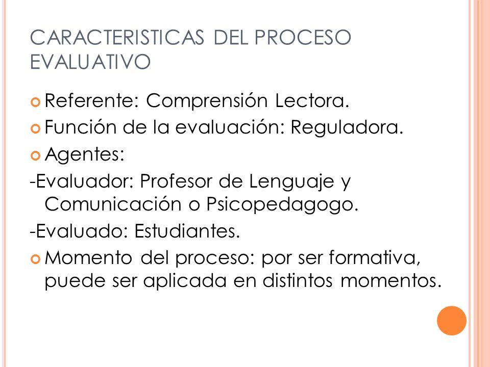 CARACTERISTICAS DEL PROCESO EVALUATIVO