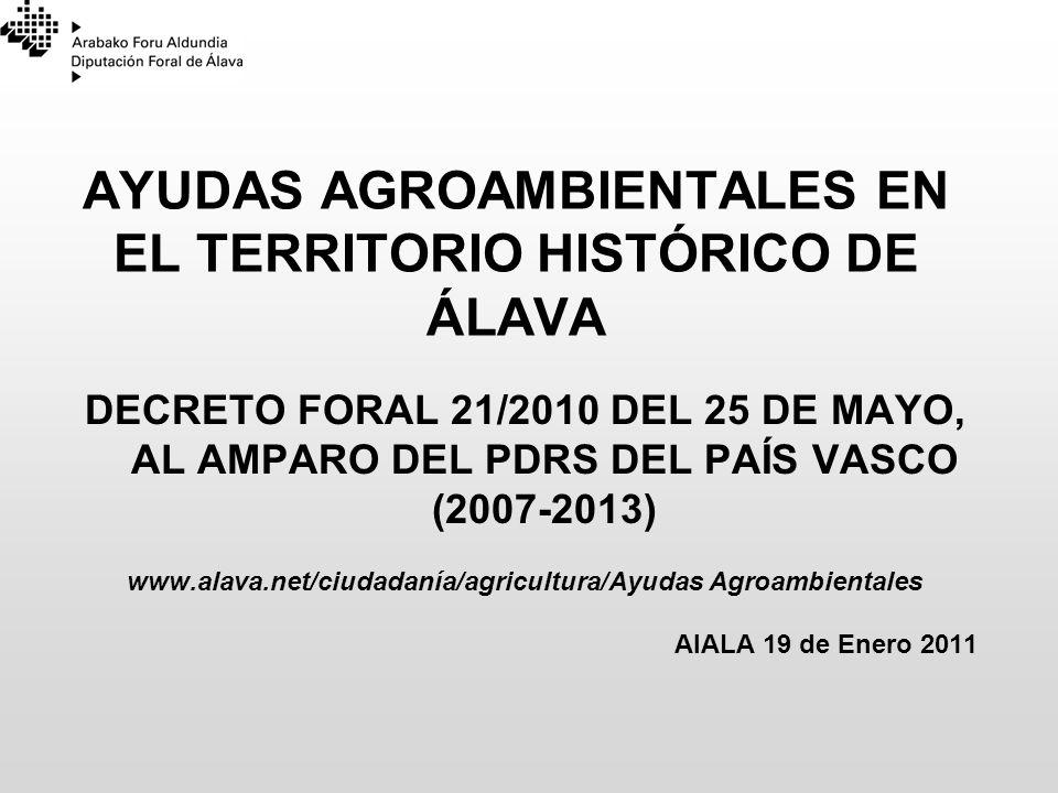 AYUDAS AGROAMBIENTALES EN EL TERRITORIO HISTÓRICO DE ÁLAVA