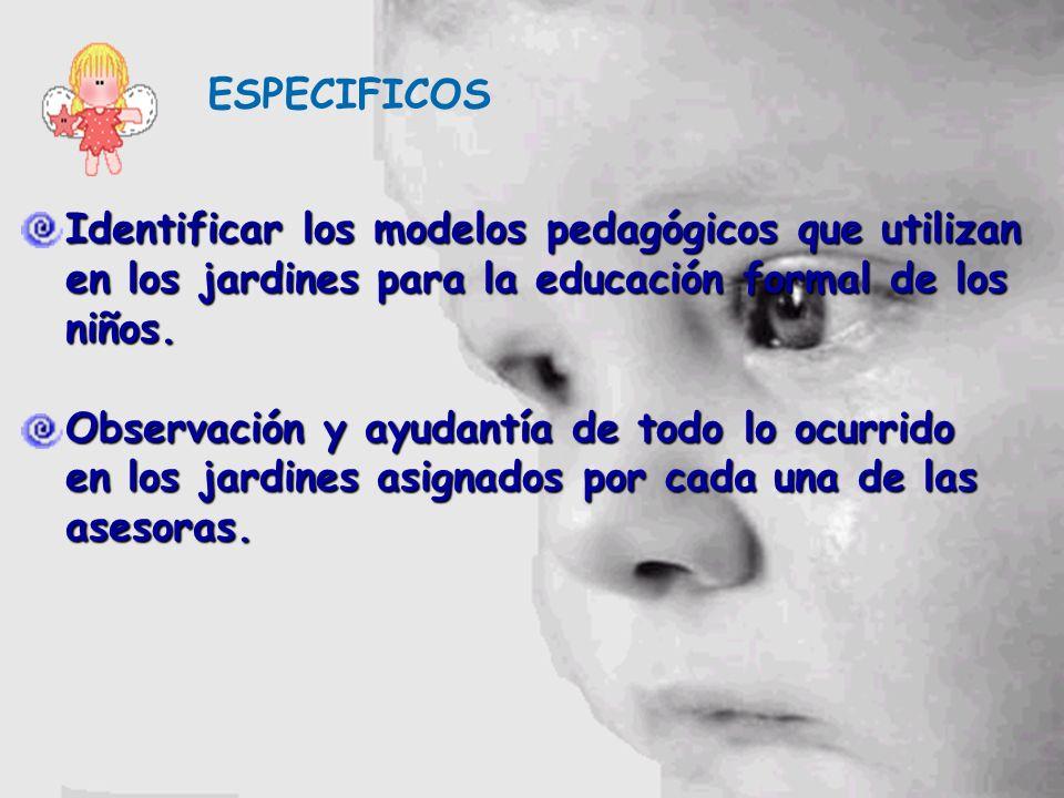 ESPECIFICOS Identificar los modelos pedagógicos que utilizan en los jardines para la educación formal de los niños.