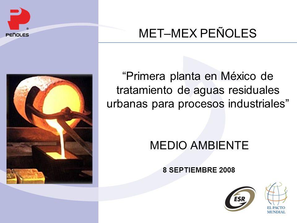 MET–MEX PEÑOLES Primera planta en México de tratamiento de aguas residuales urbanas para procesos industriales