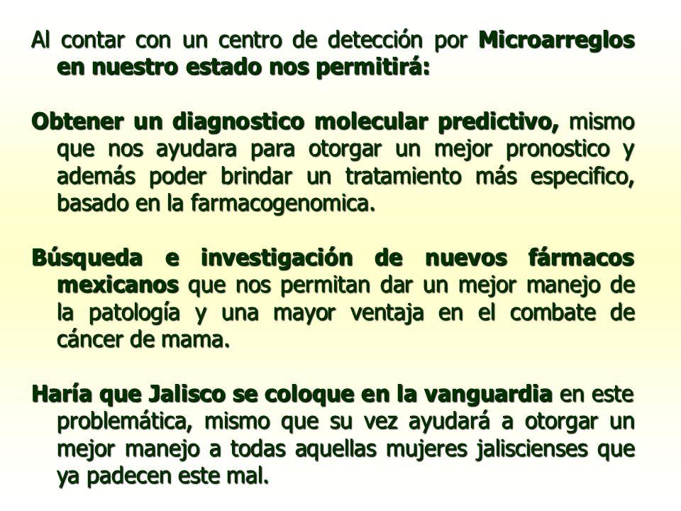 Al contar con un centro de detección por Microarreglos en nuestro estado nos permitirá: