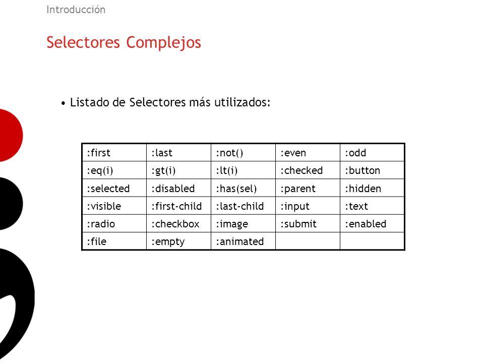 Selectores Complejos Listado de Selectores más utilizados: