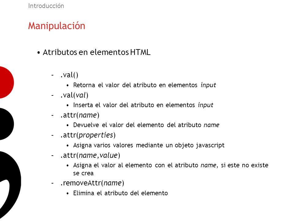 Manipulación Atributos en elementos HTML .val() .val(val) .attr(name)