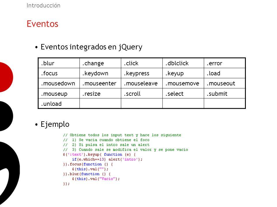 Eventos Eventos integrados en jQuery Ejemplo Introducción .blur