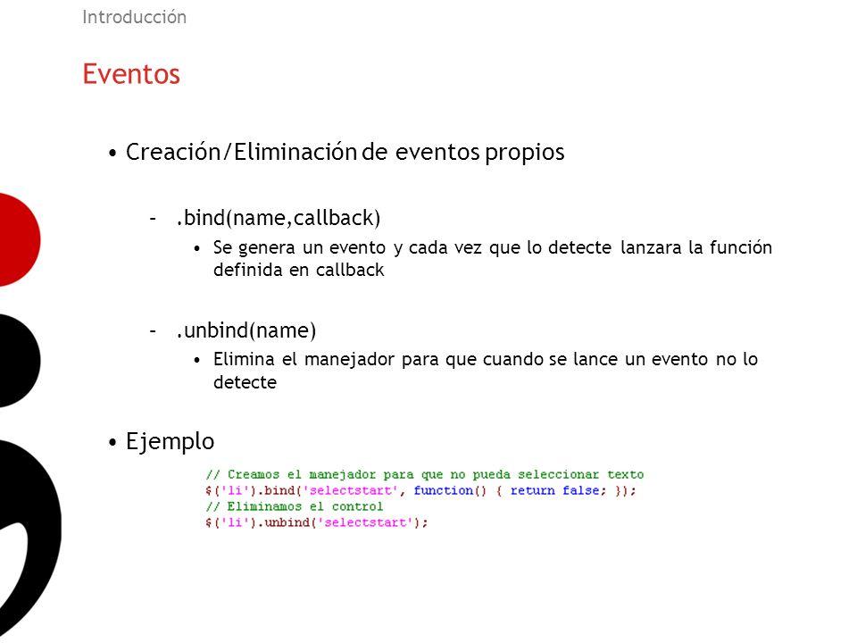 Eventos Creación/Eliminación de eventos propios Ejemplo