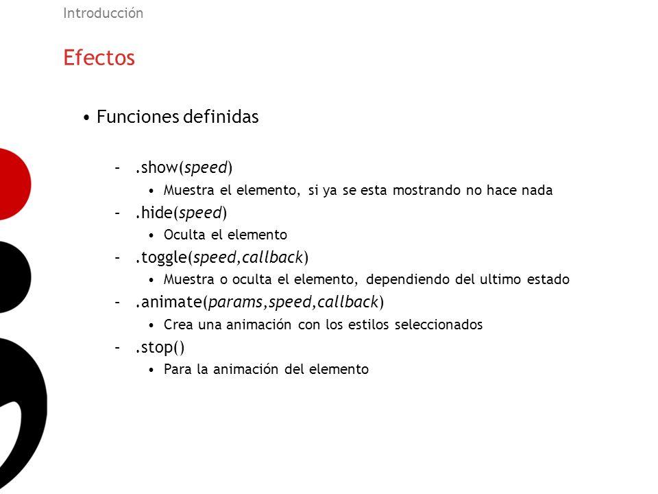 Efectos Funciones definidas .show(speed) .hide(speed)