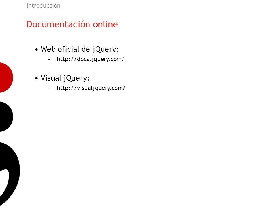 Documentación online Web oficial de jQuery: Visual jQuery:
