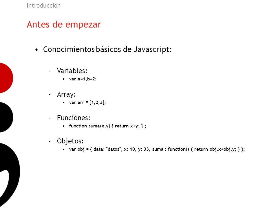 Antes de empezar Conocimientos básicos de Javascript: Variables: