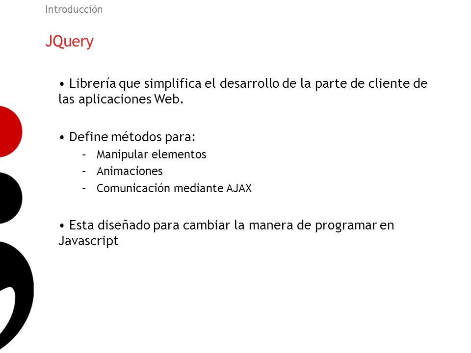 Introducción JQuery. Librería que simplifica el desarrollo de la parte de cliente de las aplicaciones Web.