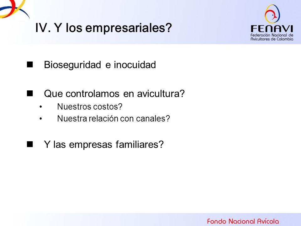 IV. Y los empresariales Bioseguridad e inocuidad