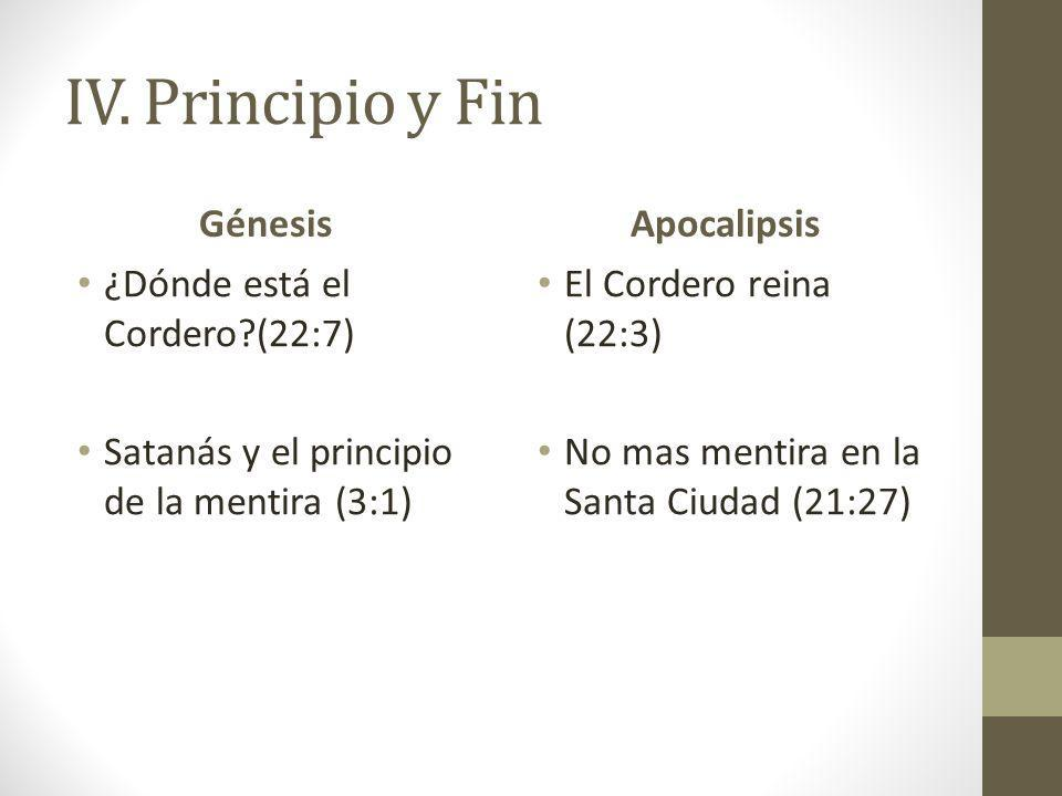 IV. Principio y Fin Génesis Apocalipsis ¿Dónde está el Cordero (22:7)